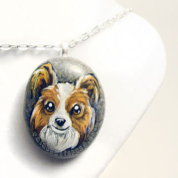 Papillon Necklace, Pet Portrait Jewelry, Dog Lover Gift, Memorial Stone, Hand Painted Rock, Brown and White Dog, Dog Breeds, Animal Art