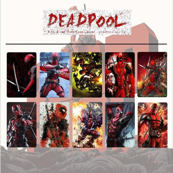 10pcs/set Marvel Avengers Deadpool/Black Panther/Thanos Card Stickers DIY Frosted Decal Phone Waterproof Stickers Souvenir Gift