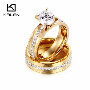 Kalen Designer Wedding Rings Jewelry Stainless Steel Gold Color Couples Promise Rings Women Crystal Love Bang Engagement Rings
