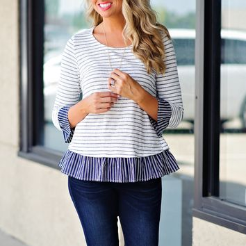 * Its Gonna Be A Good Day 3/4 Sleeve Striped Top : Navy/White