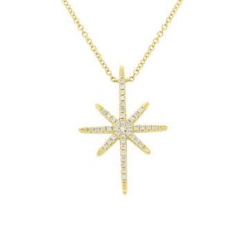 0.18ct 14k Yellow Gold Diamond North Star Necklace
