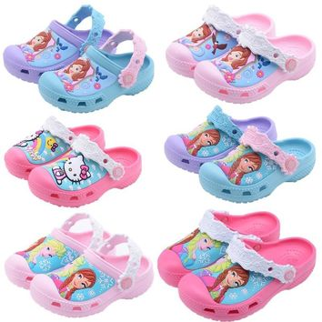 Cool Snow Queen Elsa Anna Sofia Princess Baby Slippers 2018 Hello Kitty Swimming Shoes Kids Water Shoes Kids Slippers Cute Girl ShoesAT_93_12
