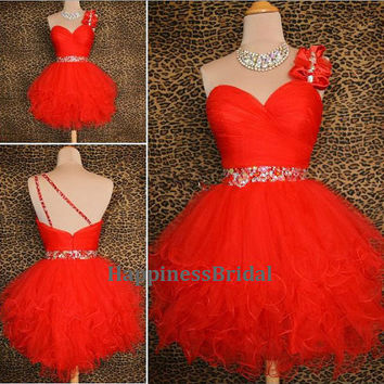 Custom Ball gown One-shoulder Sleeveless Mini Organza Short Bridesmaid Dress Prom Dress Formal Evening Dress Party Dress 2013 With Beading