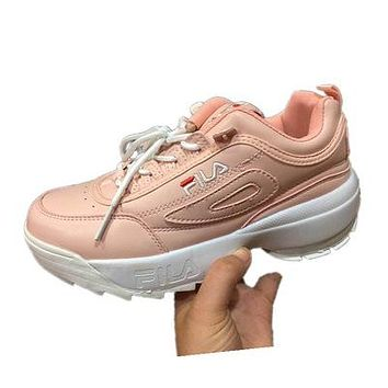 FILA street fashion men and women models non-slip breathable running shoes Pink