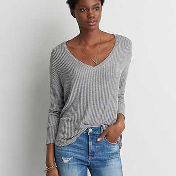 AEO Soft & Sexy Rib Drop Shoulder T-Shirt , Olive