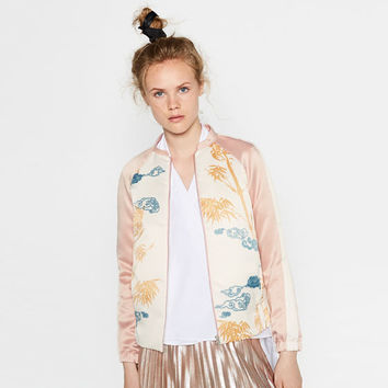 PRINTED SATEEN BOMBER JACKET - BOMBERS-WOMAN | ZARA United States