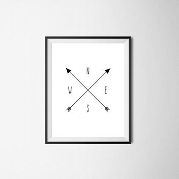 Compass Print / North South East West Arrows / Instant Download / Digital Download / Modern Home Decor / Adventure / Wanderlust Travel Art