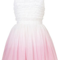 **Petite Dip-Dye Ruffle Dress by Dress Up Topshop