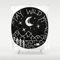 Stay Wild Moonchild Shower Curtain by Shashira Handmaker