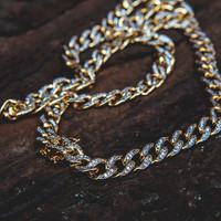 Double Plated Cuban Link Chain With CZ Stones