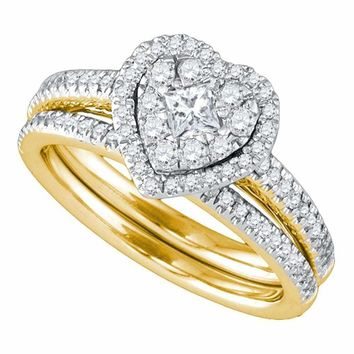 14kt Yellow Gold Womens Princess Diamond Heart Bridal Wedding Engagement Ring Band Set 3/4 Cttw - FREE Shipping (US/CAN)