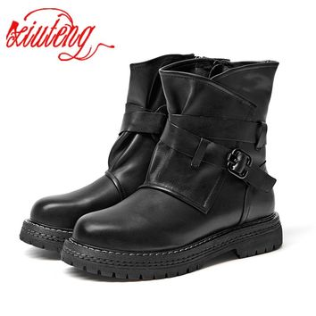 Xiuteng Brand Flat with Shoes Woman Boots 100% Genuine Leather  Women Boots 2019 Chic Motorcycle Boots Female Winter Footwear