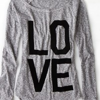 AEO Women's Love Graphic T-shirt (Ebony Grey)