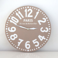 Vintage clock -Paris in pastel brown- pseudo vintage birch clock hand painted pastel brown