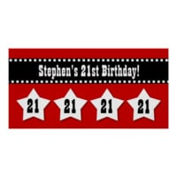 21st Birthday Red Black White Stars Banner V21S Posters