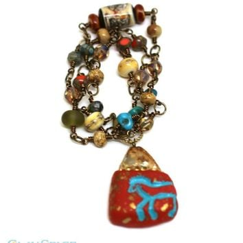 Beaded Wrap Bracelet or Necklace with OOAK Horse Focal Bead