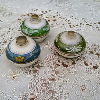 Antique White Onyx Hand Painted Dresser Jars