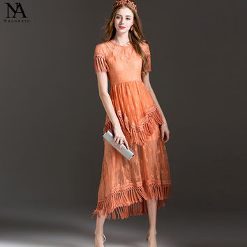 New Arrival 2017 Women's O Neck Short Sleeves Embroidery Lace Tassel Detailing Tiered Ruffles Fashion Runway Dresses