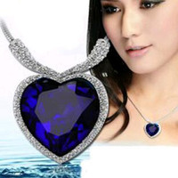 Hot Sale Time-limited Romantic High Quality Titanic Ocean Heart Necklaces & Pendants For Women Accessories Sapphire Jewelry N107