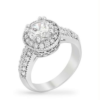 Clear Halo Engagement Ring