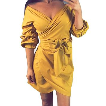 Women Yellow Dress Mini Casual Beach Three Quarter Evening Party Puff Sleeve Sexy Deep V Neck Sundress With Sashes