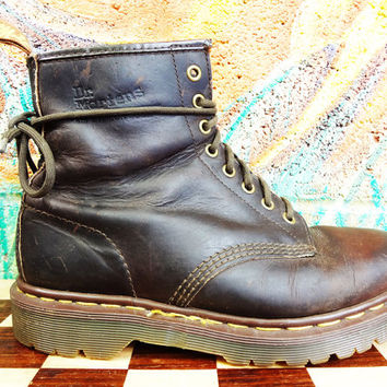 Vintage 90s Dr Martens Dark Brown 8 hole docs - size 7 UK mens - 7.5 US mens - 9 US Womens