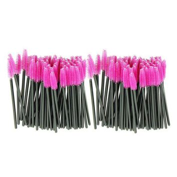 LMFUS4 New 100pcs/lot make up brush Pink synthetic fiber One-Off Disposable Eyelash Brush Mascara Applicator Wand Brush best deal