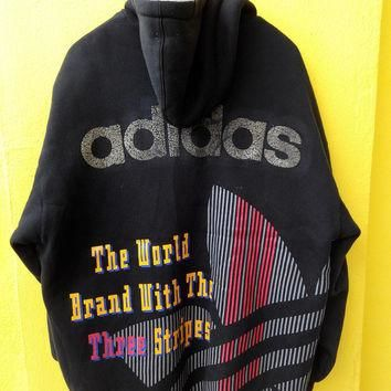 Vintage Rare 80's ADIDAS Ski Wear Rainbow 3 Stripes Trefoil Sweater Big Logo Hip Hop B