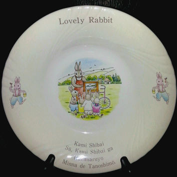 "4 pc. Royal, Beatrix Potter's Peter Rabbit Berry Bowls ""Lovely Rabbit""  the scene and phrase at bottom Kami Shibai...is about  story telling"