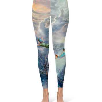 Peter Pan Disney Fine Art Painting Tinker Bell - Leggings in XS-3XL -  Lycra Full Print Footless Tights 000628