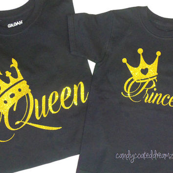 Queen & Princess matching shirt set girls infants newborn toddler crown mommy me baby Onesuit tank glitter funny t-shirt