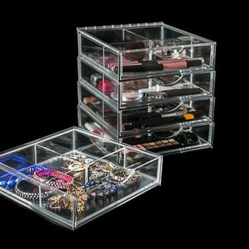 Clear acrylic cosmetic box, jewelry showcase, stacking, drawers, lift top, ten inch cube, counter top make up case, crafts easily accessed