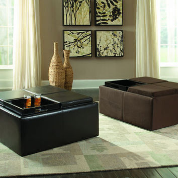Kaitlyn Cocktail Ottoman with Casters Dark Brown Bi-Cast Vinyl 468PU Free Shipping