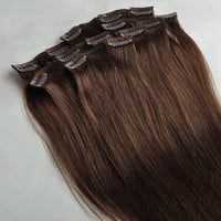 "Human Hair Blend 20"" Medium Brown 4 Straight Clip In Hair Extensions 120g+ 8 Pieces * Full Head Clip-Ins * 100% Heat Safe * Clip-In Weft"