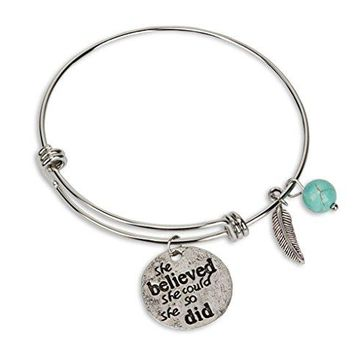 SPUNKYsoul New She Believed She Could So She Did Bracelet with Turquoise amp Feather Collection