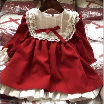girl christmas Dress vintage red baby Girls princess Dress Lace long sleeve New Year costumes kids dresses for girl party dress