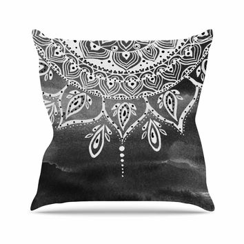 "Li Zamperini ""Black & White Mandala"" Gray Abstract Outdoor Throw Pillow"