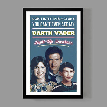 Star Wars: Kylo Ren Poster Print - Emo Kylo Ren w/ Han Solo / Princess Leia - Darth Vader, Funny, Quirky, Silly, Kids, Gift