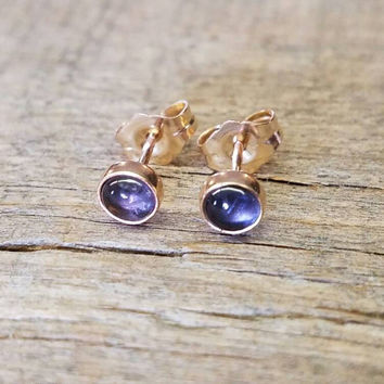 Iolite Stud Earrings 14k Gold