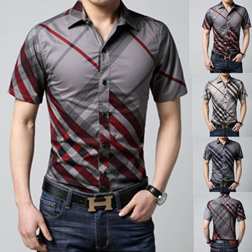 Men short sleeve slim fit shirt overhemd casual social male big size M L XL 2XL 3XL 4XL 5XL 6XL stripe with collar hot sale
