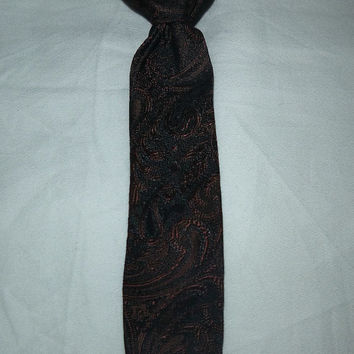 Vintage Paisley Horse Tie for Baby Toddler Child by Dunn Bros 1930's Brown Black Child's Clip On Tie Childrens Boys 30's Tie Ring Bearer