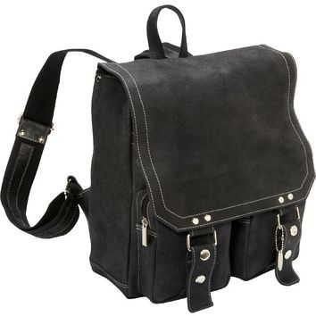 David King Distressed Leather Laptop Backpack