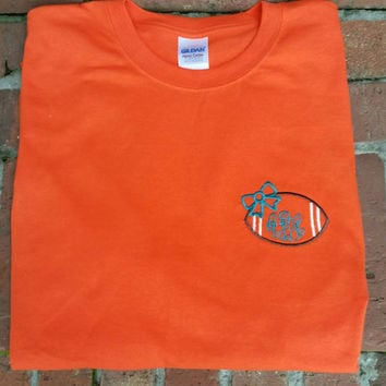 SALE Monogrammed Football Tshirt- You choose the shirt color, thread colors and font. Great for football games. Pick your team colors