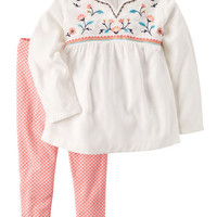 2-Piece Embroidered Babydoll Top & Legging Set