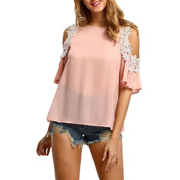 Women Cold Shoulder Crochet Trim Tops Casual Woman Cute Tops New Arrival Pink Short Sleeve Blouse