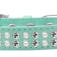 Two Row Pearl and Clear Crystal Size 18 Aqua Dog Collar