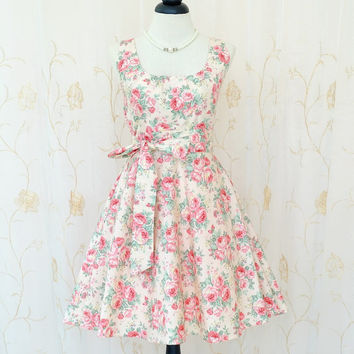 My Lady - Spring Summer Floral Dress Party Tea Dress Pink Floral Wedding Bridesmaid Dresses Vintage Design Floral Day Dress XS-XL
