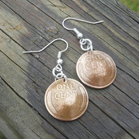 Wheat penny earrings. Coin earrings. Nickel free hook. Domed coin earrings. Gift for her.