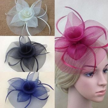 PEAP78W New Elegant Lady Women Fascinator Hat Clips Hairpins Hair Accessories Church