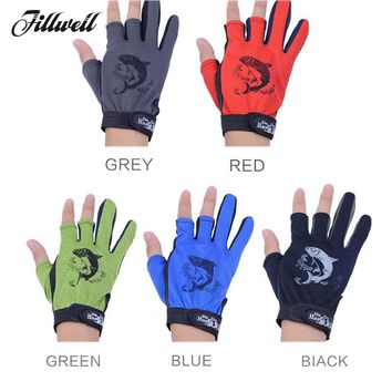 1 Pair 3 Half Finger Fishing Gloves Skidproof Resistant Half Finger Cycling Fishing Anti-Slip Tool for Fishing Tackle Boxes hot